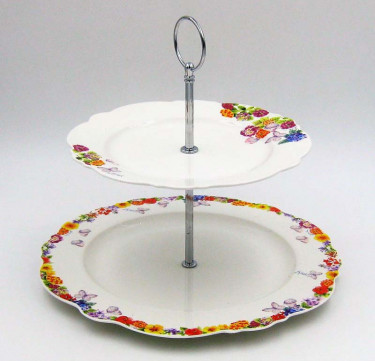 2 Tier Cake Stand - When Flower Blooms