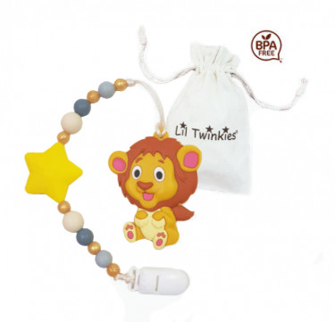 Teether with Clip-on (Lovable Lion)