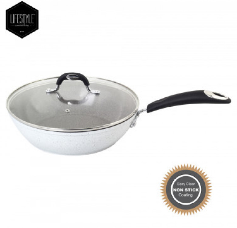 Stellar Marble Ceramic Coating Frypan with Glass Lid
