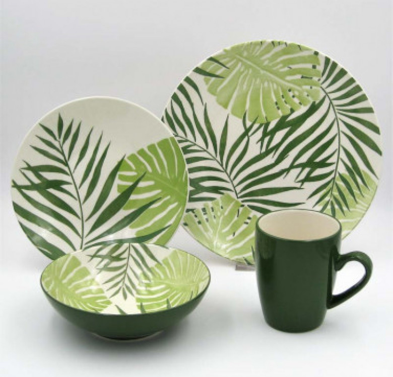 16-Piece Palm Leaf Green Dinner Set