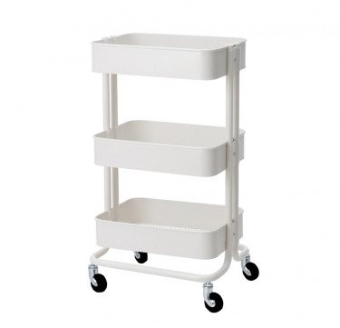 3-Tier White Utility Cart