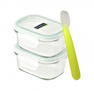 3pc Baby Meal Set Rectangle with Spoon