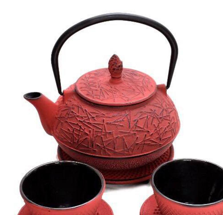 Red Cast Iron Teapot Set