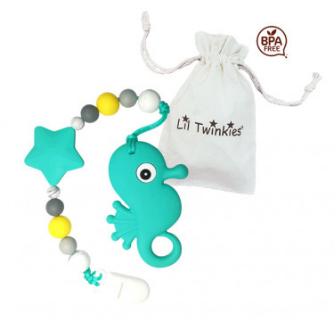 Teether with Clip-on (Seahorse)
