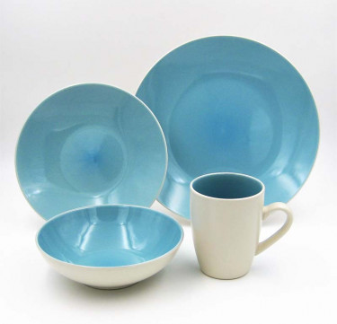 16-Piece Luna Aqua Stoneware Dinner Set