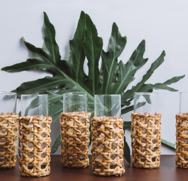 Woven Rattan Tall Tumbler Set of 6