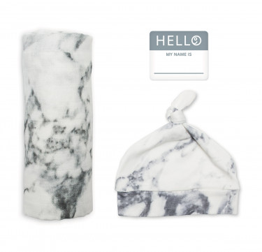 Marble Baby Bamboo Bonnet & Swaddle Set (Hello World)