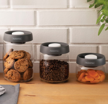 Purezza 3-Piece Glass Container with Vacuum Sealed Lid