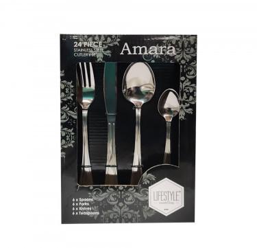Lifestyle Amara Stainless Steel 24 Piece Cutlery Set