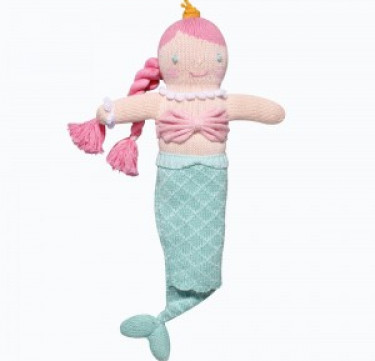 Marina the Mermaid Hand-knit Rattle & Cotton Doll