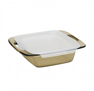 "Easy Grab™ Amber 8"" Square Baking Dish with Lid"