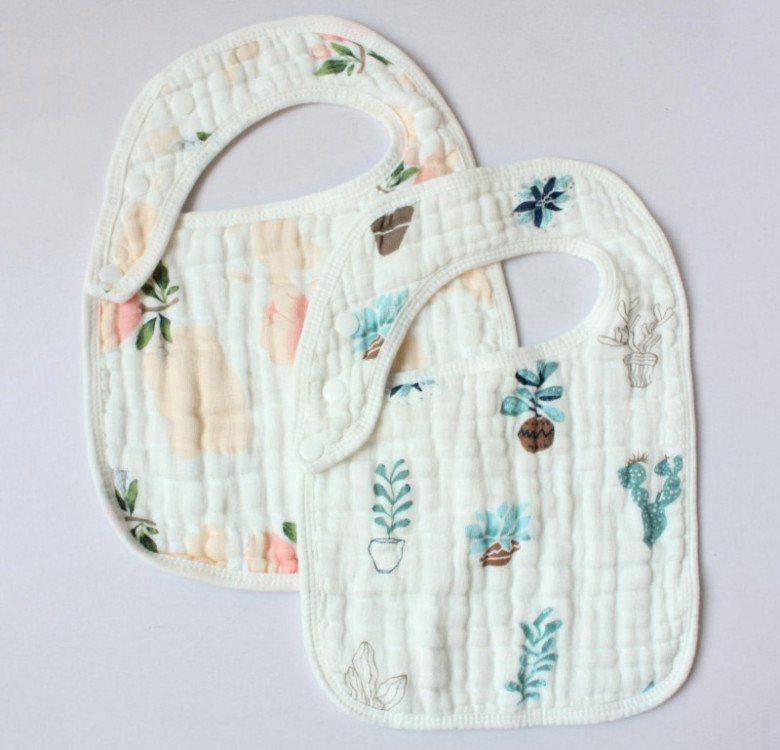 Pack of 2 Muslin Snap Bibs (Succulents & Roses)