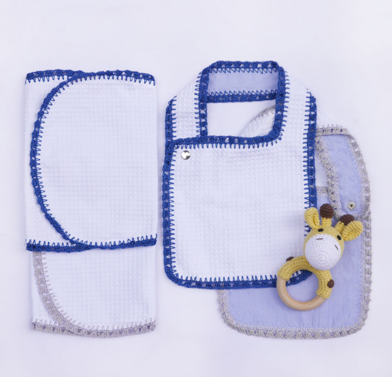 Pack of 2 Hand-crocheted Bib & Burp Cloth Set (Blue and Grey)