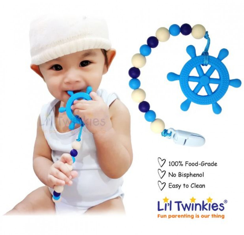 Teether with Clip-on (Blue Helm)