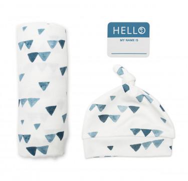 Navy Triangle Baby Bamboo Bonnet & Swaddle Set (Hello World)