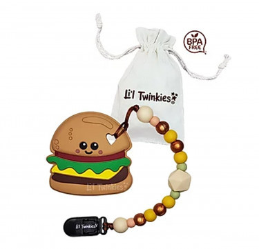 Teether with Clip-on (Yum Yum Burger)