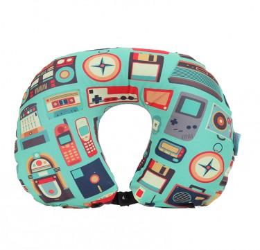 Retro 2-in-1 Neck Pillow w/ Blanket