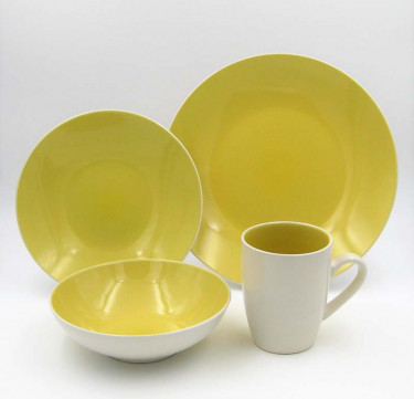 16-Piece Luna Yellow Stoneware Dinner Set