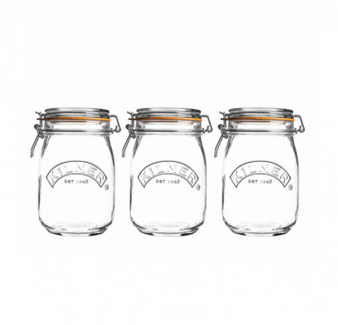 Clip Top Round-Jars 1L In Decorated Sleeve (Set Of 3)