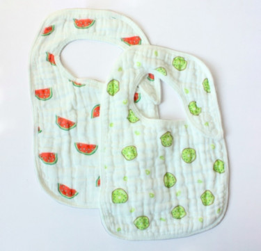 Pack of 2 Muslin Snap Bibs (Watermelon & Kiwi)