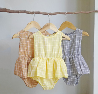 Scandinavian Plaid Peplum Onesie
