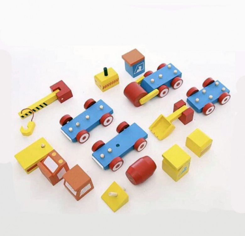 Pack of 4 Wooden Stacking Construction Vehicles
