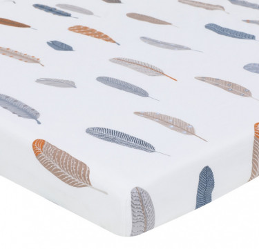 Blue Feathers Fitted Crib Sheet