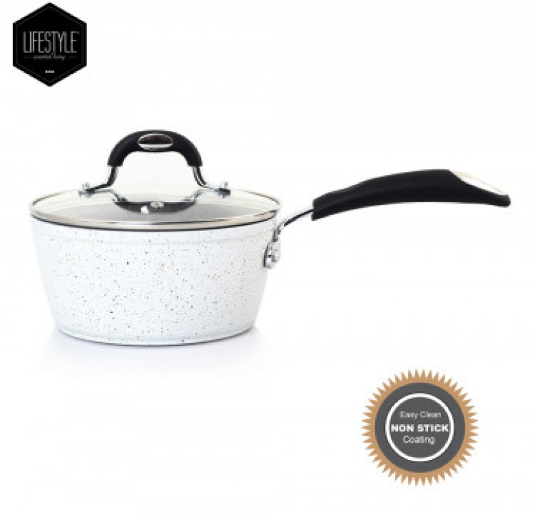 Stellar Marble Ceramic Coating Saucepan with Glass Lid