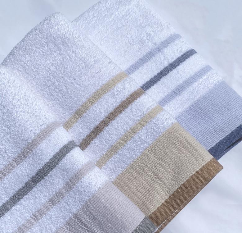 Luxury Bath Towel Set of 2 (Blue Gray Stripes)