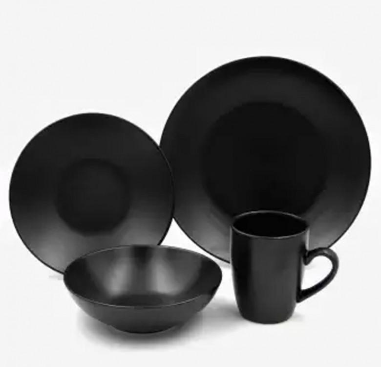 16-Piece Mono Black Stoneware Dinner Set