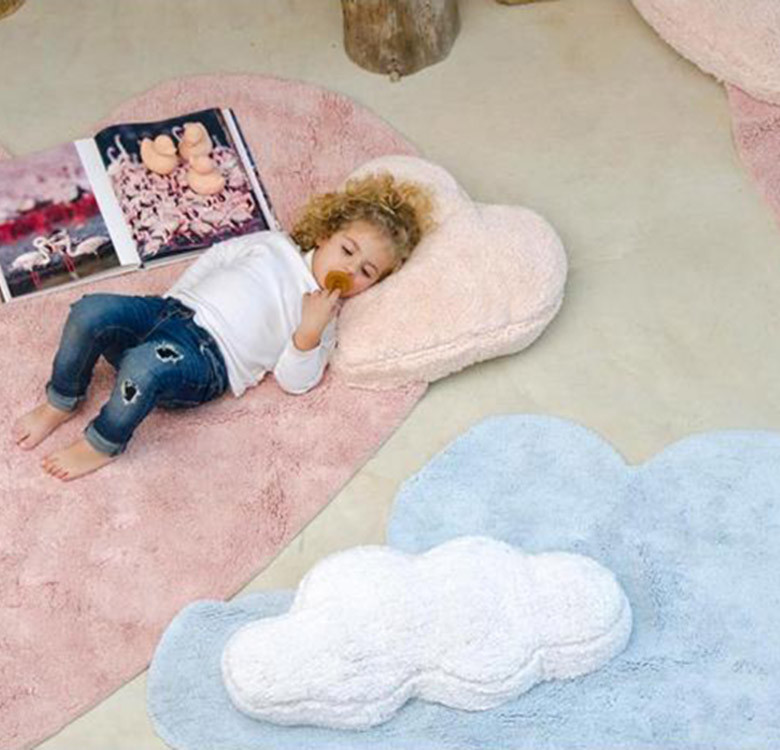Puffy Washable Rug with Cushion