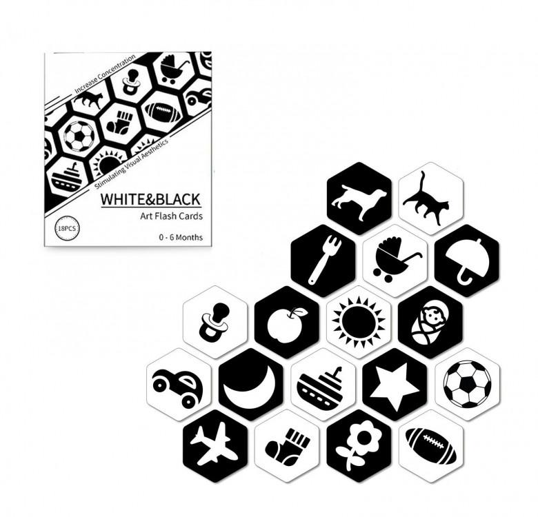 18-Piece Black & White Infant Stimulation Cards