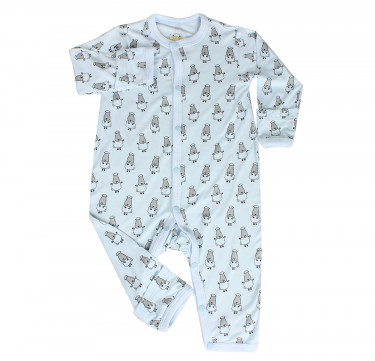 Button Long Sleeve Romper ( Small Sheepz, Blue)