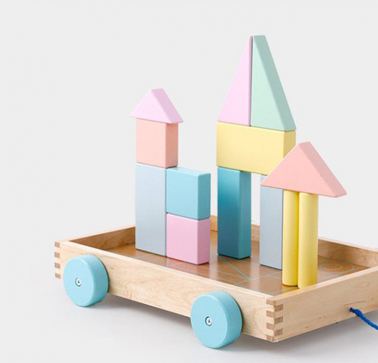 Wooden Building Blocks with Wagon