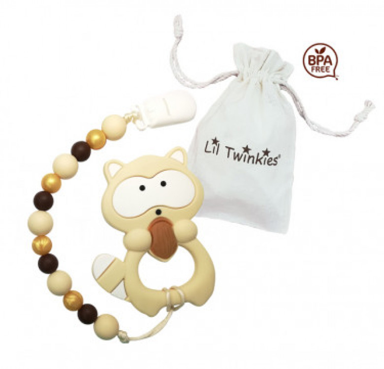 Teether with Clip-on (Classic Raccoon)