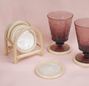 Capiz Coasters with Stand