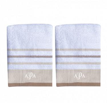 Luxury Monogrammed Bath Towel Set of 2 (Coffee Stripes)
