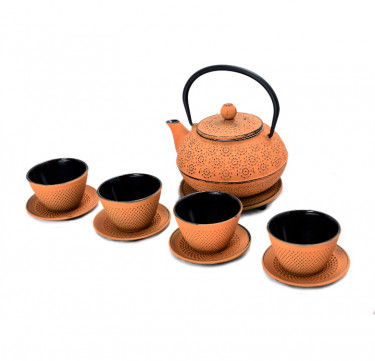 Orange Cast Iron Teapot Set