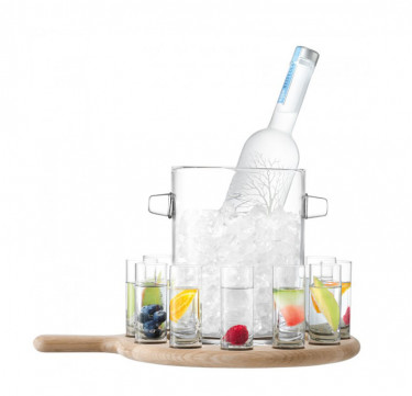 38.5cm Paddle Vodka Serving Set & Oak Paddle