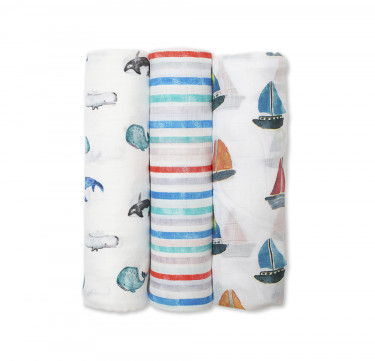 Out at Sea Bamboo Muslin (Set of 3)
