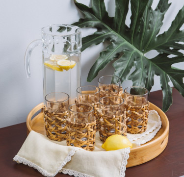 Woven Rattan Short Tumbler Set of 6