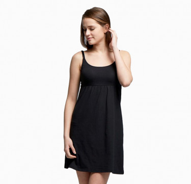 Essentials Maternity & Nursing Dress with Built-in Bra (Black)