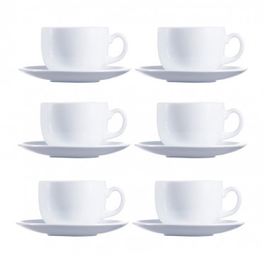 Evolution Peps 7oz White Coffee Cup & 14 cm Saucer Set of 6