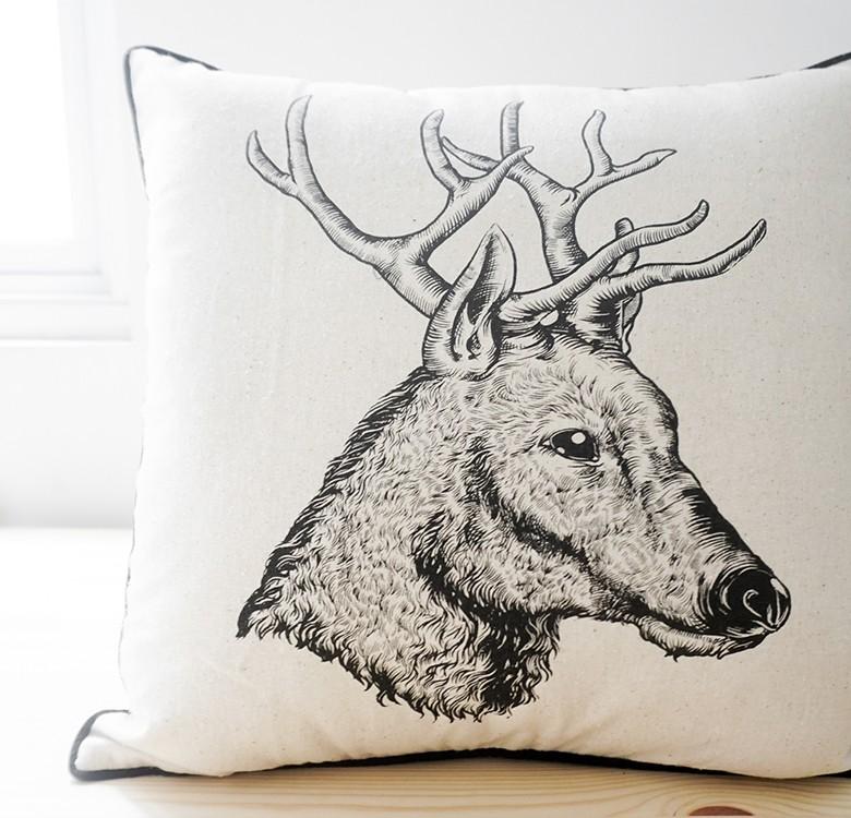 Deer Head Throw Pillow Cover