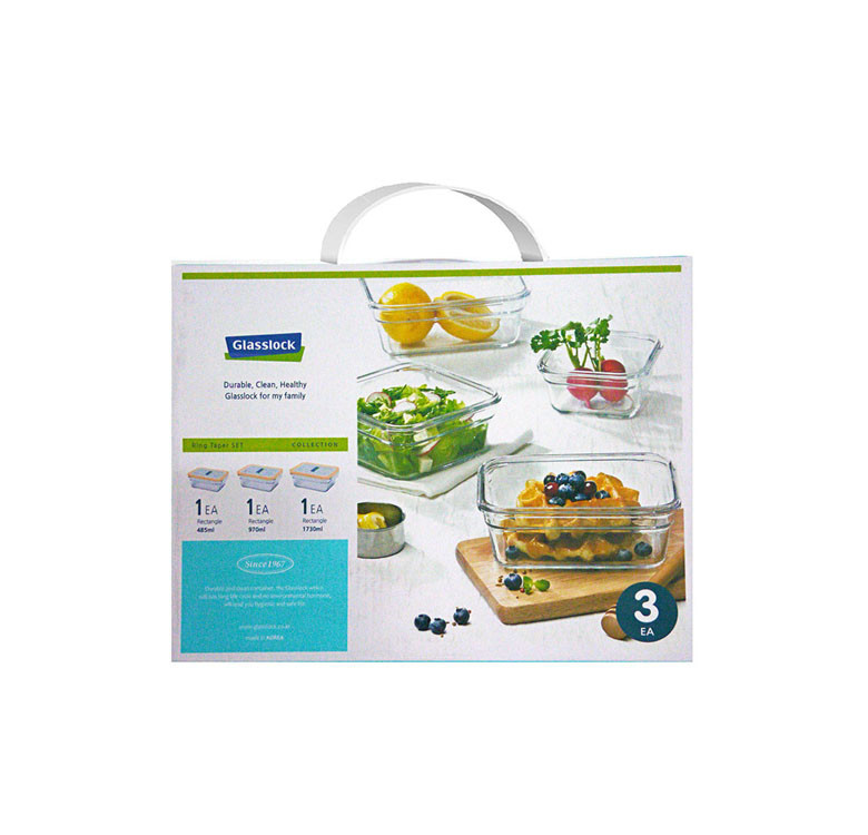 3-Piece Set Oven Safe Rectangle Type Food Keeper