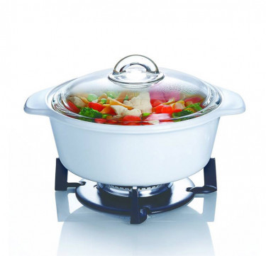 Vitro Direct Fire White Casserole with Lid Cookware