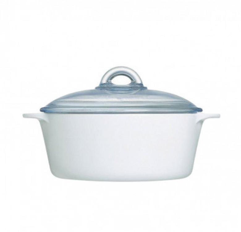 Vitro Direct Fire White Casserole with Lid Cookware