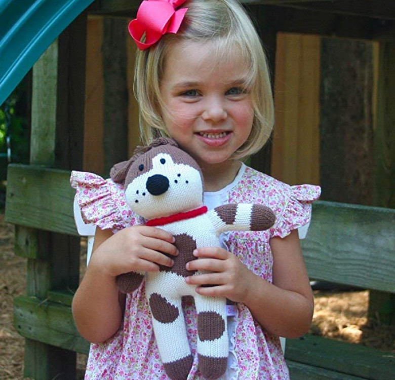 Mr. Woofers the Spotted Dog Hand-knit Rattle & Cotton Doll