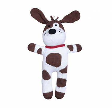 Mr. Woofers the Spotted Dog Hand-knit Cotton Doll