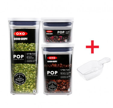 Good Grips Pop Container 3-Piece Rectangle Set with Scoop